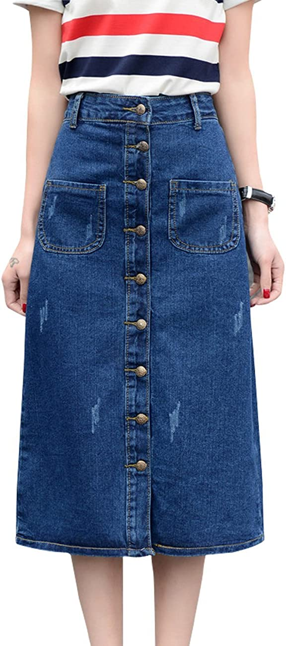 Wincolor Women's Button Front A-line Flared Long Denim Jean Skirts Blue