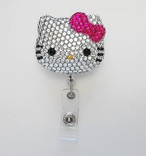 LOVEKITTY - 3D Hello Cutie Blinged Out Fuchsia Bow Kitty Inspired Rhinestone Badge Reel/Name Badges/ID Badge Holder