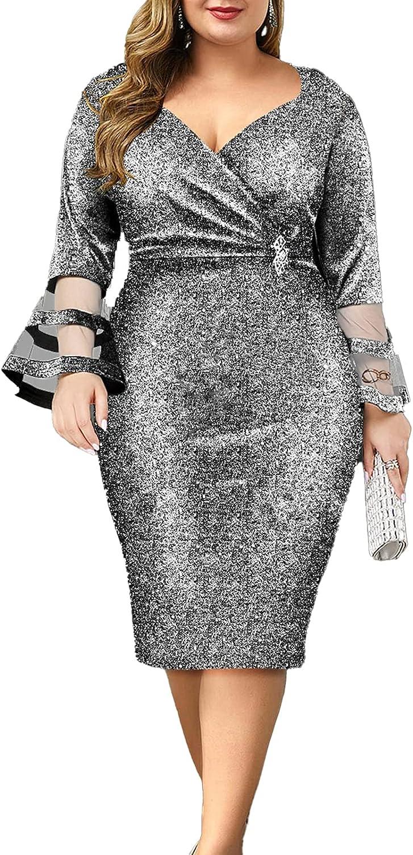 Women's Formal Dresses - Plus Size Dresses - Shiny V Neck Mesh Patchwork Elegant Women Bodycon Dress for Wedding