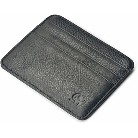 Genuine Leather Credit Card Holder Wallet - 6 Card Slots and 1 Pockets, Slim Design by mSure(Lines Black)