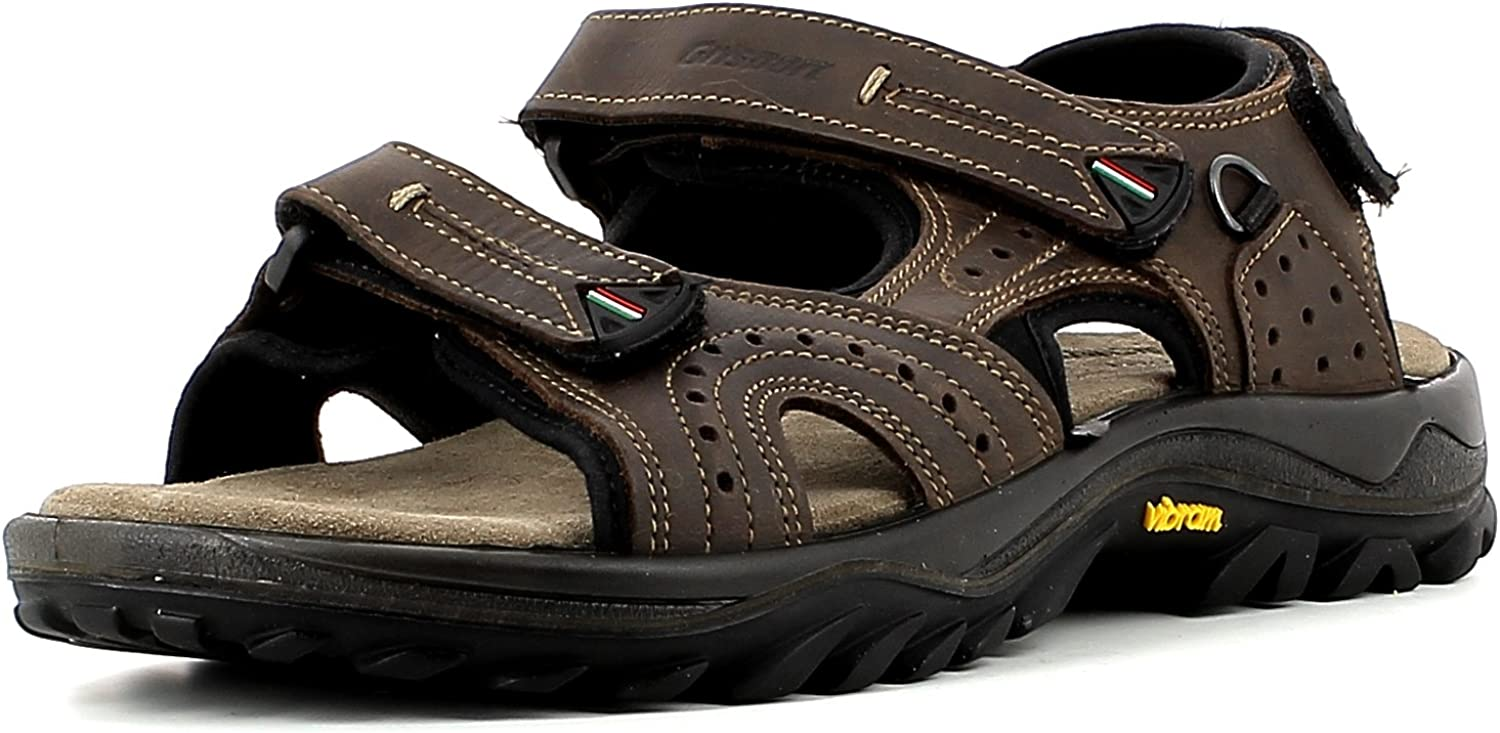 greyport Mens Comfortable Outdoor Sandals With Three Adjustable Straps, Reinforced, Vibram Sole