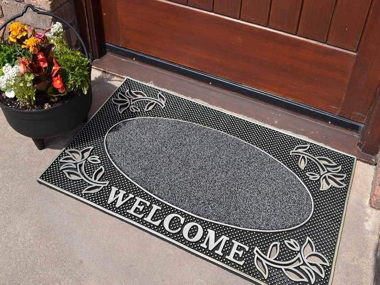 Heavy Duty Welcome Rubber Indoor Outdoor Door Mat Size 45cm x 75cm by Rugs Supermarket