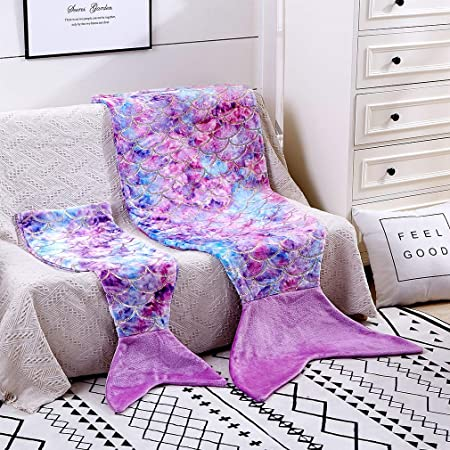 Toddler Mermaid Tail Blankets Glittering Cozy Soft Flannel Rainbow Colorful Gifts All Season for Toddlers /Kids(Purple Pink, Toddlers)