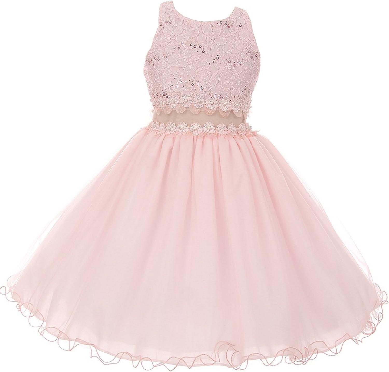 Dreamer Sleeveless Glitter Floral Waistline Pageant Flower Girl Dress 4-14