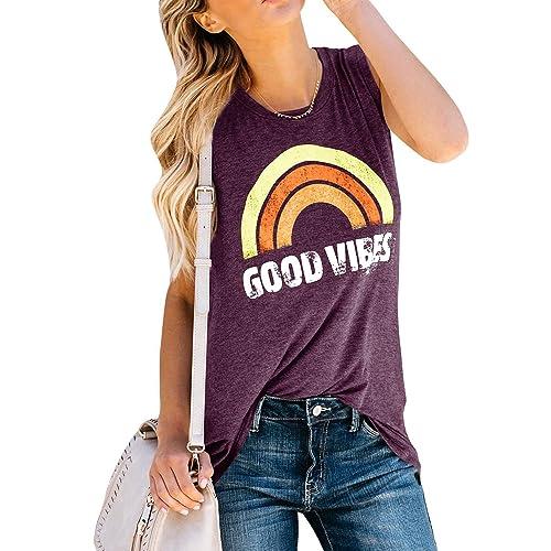 0d0ce12a3b0c92 Womens Tank Tops Good Vibes Summer Graphic Tees Long Rainbow Print Tunics  Shirts