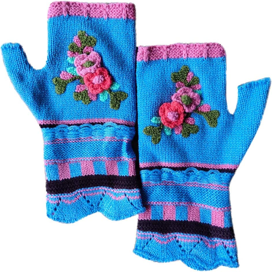 KYSA Wrist Warmer - Knitted Fingerless Gloves - Multicolor Jacquard Floral - Thumb Hole Mittens Arm Warmers - Winter Gift