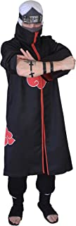 US Size Unisex Akatsuki Cloak Robe Cosplay Costume Embroidery Edition