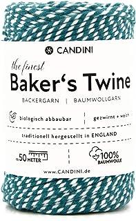 Candini Bäckergarn türkis - weiß - weiches Bastelgarn aus reiner Baumwolle, 50m - Premium Qualität - Baker's Twine Bastelschnur, Geschenkband - zweifarbig - Made in England