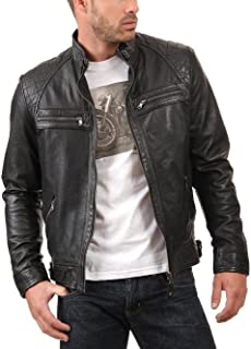 NBENTERPRISES Genuine Men's Diamond Biker Leather Jacket