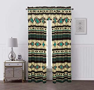 Rugs 4 Less Southwestern 5 Piece Window Curtain Set with Native American Tribal Design Turquoise Blue Beige and Brown - 17426 Brown Curtain