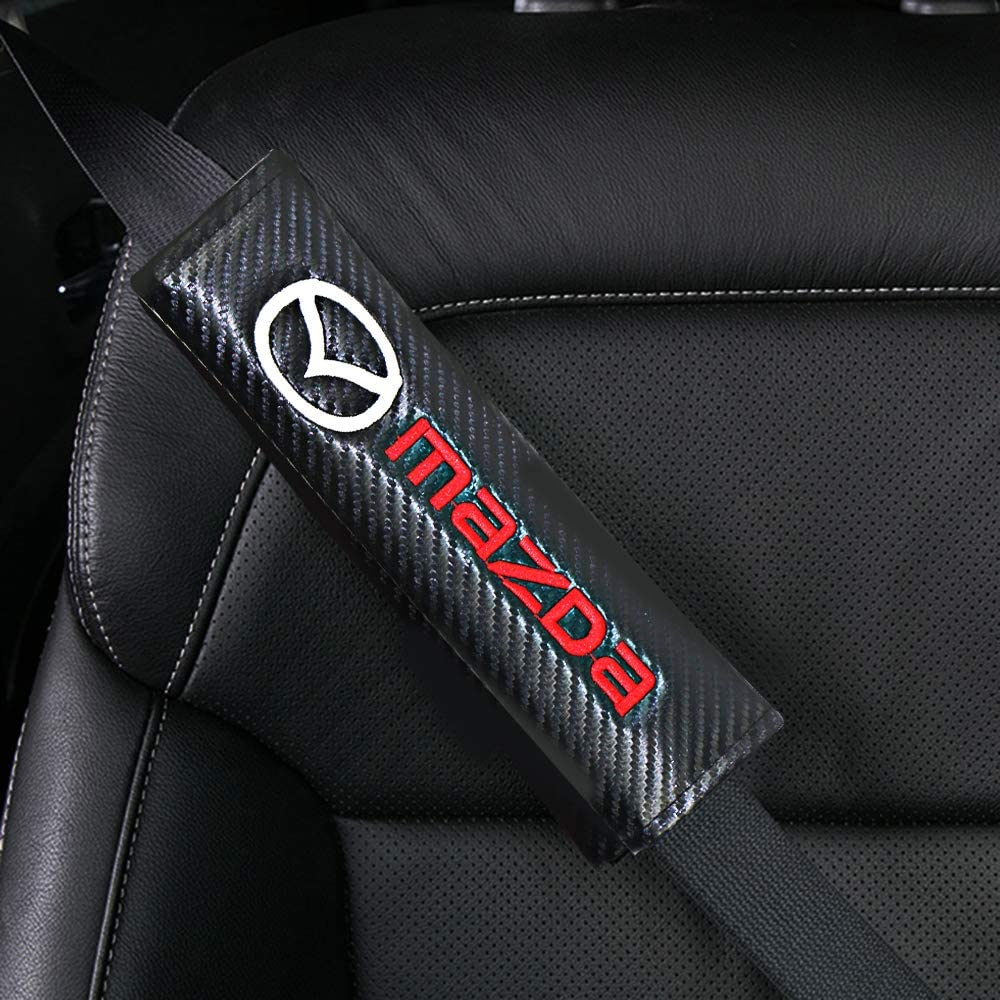 Genshion 2PCS Emblem Car Logo Seat Belt Padding Carbon Fiber Shoulder Pads Seatbelt Cover Neck Protector Pads for Adult Children