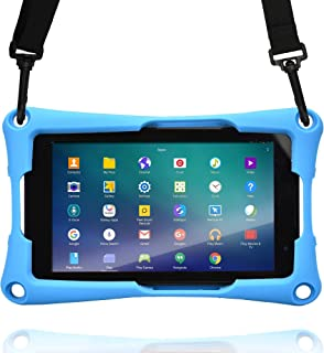 Cooper Trooper 2K Rugged Case for 7 inch Tablet | Tough Bumper Protective Drop Shock Proof Kids Holder Carrying Cover Bag, Stand, Hand Strap (Blue)