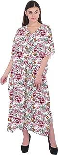 RADANYA Women's Floral Printed Cotton 3/4 Sleeve Loose V Neckline Boho Long Dress Kaftan Casual Dress