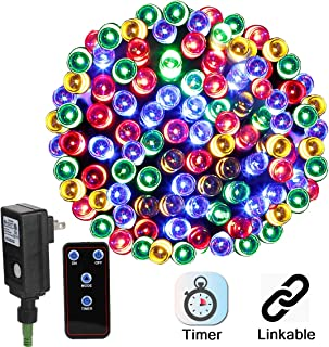 Linkable LED Christmas Lights 72ft 200Leds Multi-Color, Plug-in DC24V Safe Adapter Decorative Lights with Timer & Remote, 8-Modes Fairy Lights for Halloween Wedding Party Xmas Decor