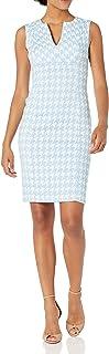 Calvin Klein Women's Textured Sleeveless V-Neck Princess Seamed Sheath Dress