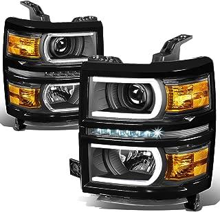 For Chevy Silverado 1500 Pair LED DRL+U Tube Bar Projector Headlight/Lamp Black/Amber