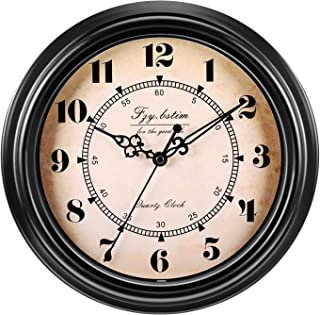 Fzy.bstim 12 Inch Silent Non-Ticking Wall Clock Retro Vintage Quartz Decorative Wall Clock for Living Room Kitchen Home Office,Battery Operated