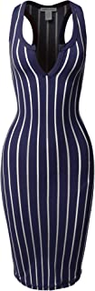Women's Fitted Sexy Solid Split Neck Line Front Body-Con Midi Dress