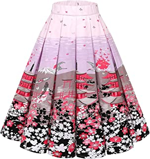 PrePretty Women's A-Line Printed Flared Midi Skirts With Pleated