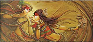 Modern Art Radha Krishna Painting Print Sticker Poster Without Frame (24 X 48 Inches)