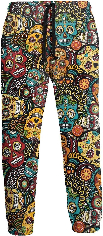Men's Jogger Sweatpants Mexican Colored Skulls 3D Loose Joggers Pants with Drawstring Long Pants