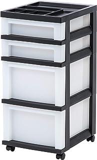 IRIS USA, Inc. MC-322-TOP 4-Drawer Storage Cart with Organizer Top, Black/Pearl