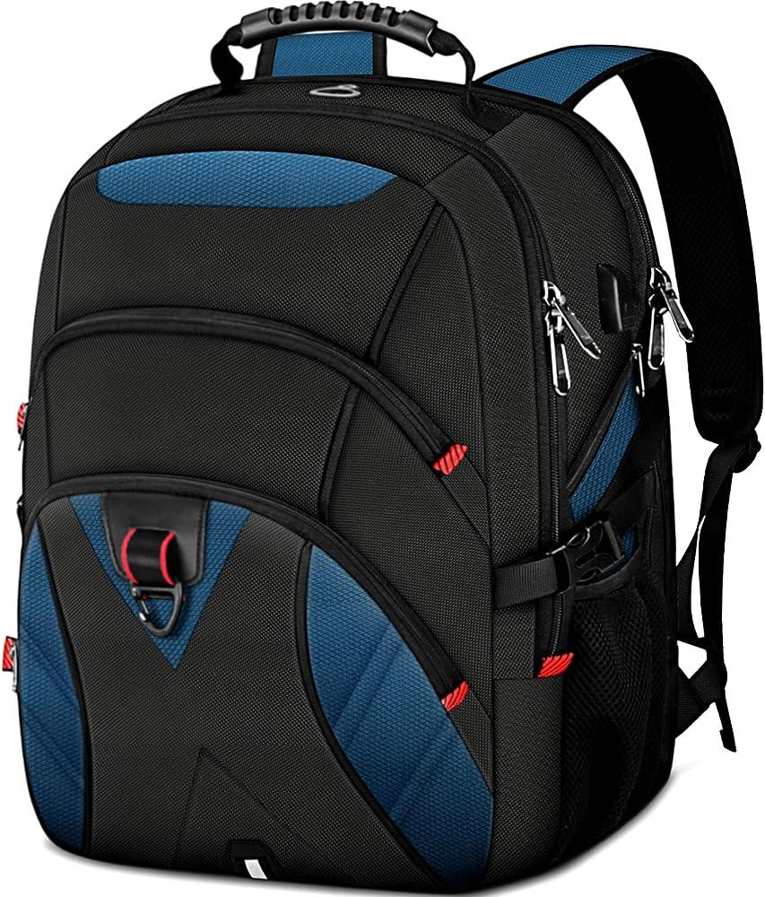 Ktmouw, zaino da uomo, porta pc 17 pollici,  con porta usb, impermeabile, multifunzionale per laptop, nero-blu