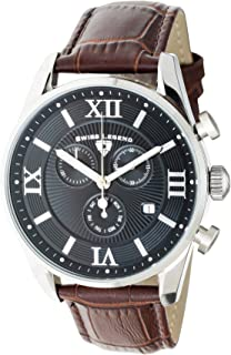 Swiss Legend Men's Belleza Analog Swiss Quartz Watch Black Dial and Silver Stainless Steel Case with Brown Leather Strap 22011-01-BRN