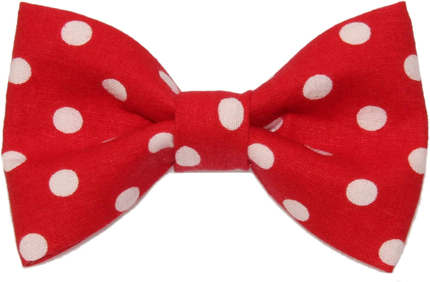 Boys Children's Red With White Polka Dots Clip On Cotton Bow Tie
