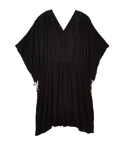 LAUREN Ralph Lauren Plus Size Crinkle Rayon Tunic Dress (Black) Women