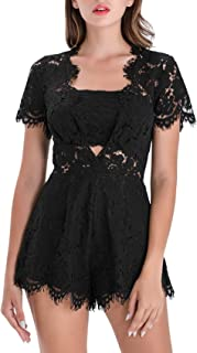 Women Lace Romper Deep V Neck Lace Floral Short Sleeves Hollow Out Sexy Mini Party Jumpsuit Rompers Playsuit