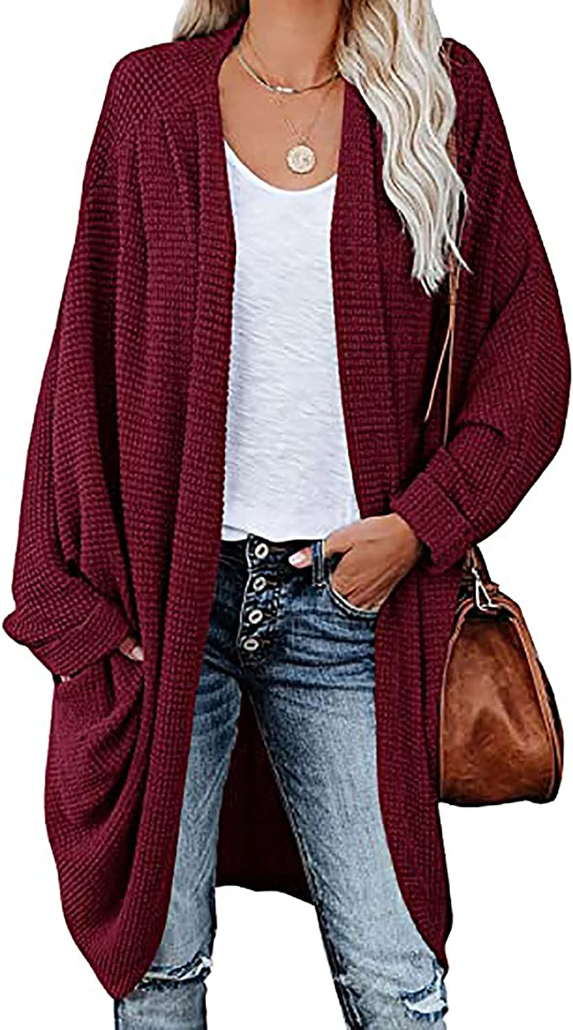 Knitted Cardigan for Women, Casual Loose Long Sleeve Long Cardigan Sweaters Oversized Open Front Tops Blouse Coat