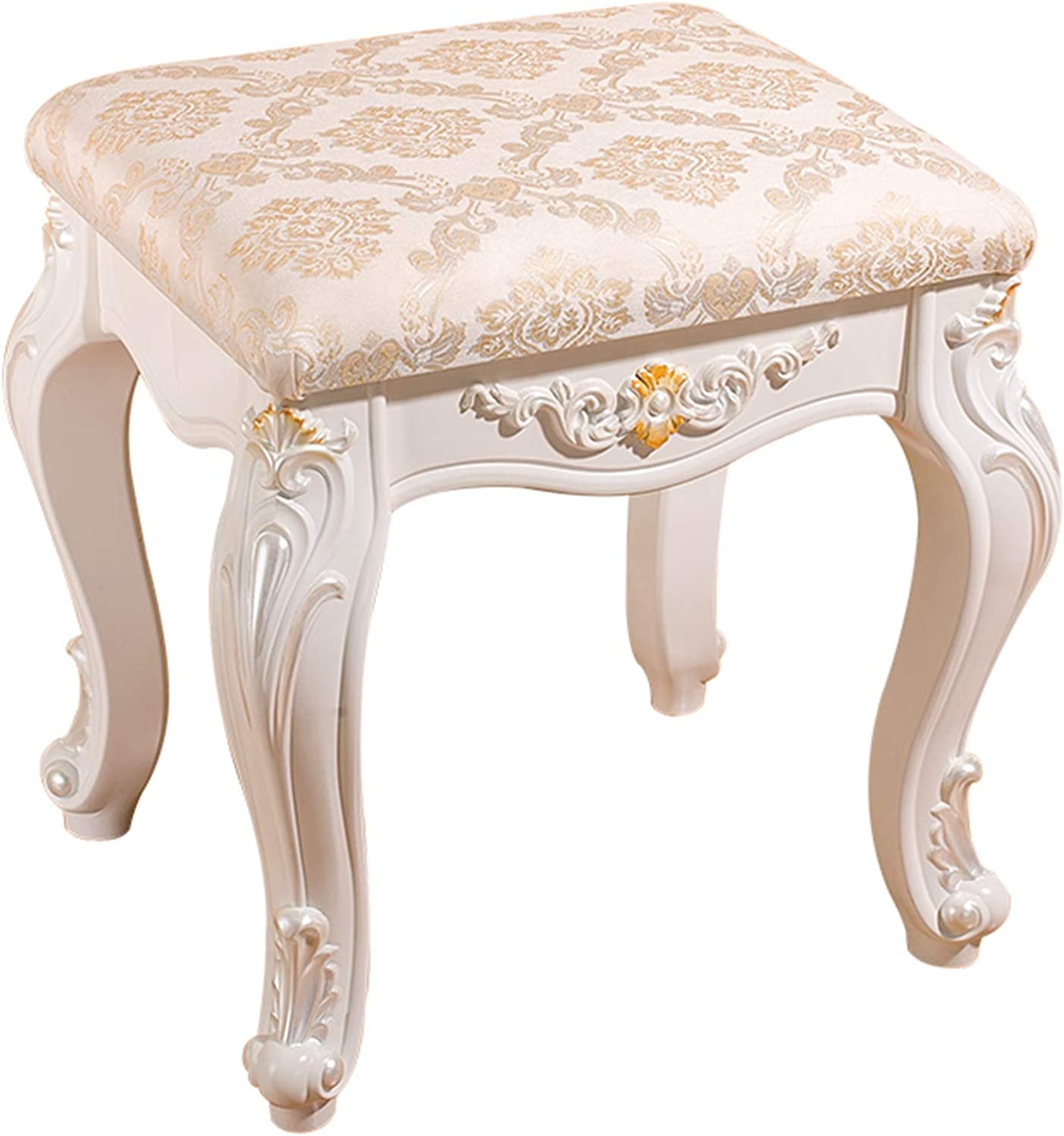Baroque Dressing Shipping included Table Regular discount Stool Carv Upholstered Leather Artificial