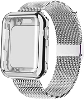 YC YANCH Compatible with Apple Watch Band 38mm 40mm 42mm 44mm with Case, Stainless Steel Mesh Loop Band with Apple Watch Screen Protector Compatible with iWatch Apple Watch Series 1/2/3/4/5