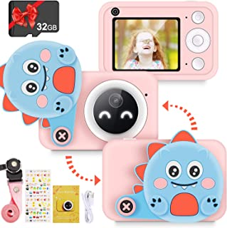 "RenFox Kids Camera - 16MP Digital Dual Camera Toys Gifts for 3-12 Yeas Old Girls Boys, Rechargeable Shockproof 1080P Video Recorder Camcorder with 2.4"" LCD Screen, 32GB SD Card & Dinosaur Lens Cover"