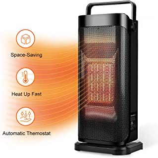 Ceramic Space Heater for Office – Quiet Tower Heater Heat Up in Seconds Portable..