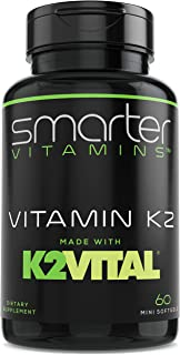 Smarter Vitamin K2 MK7 100mcg Made with K2VITAL and Kale for Bone Health & Cardiovascular Support K-2 MK-7 Helps Utilize C...