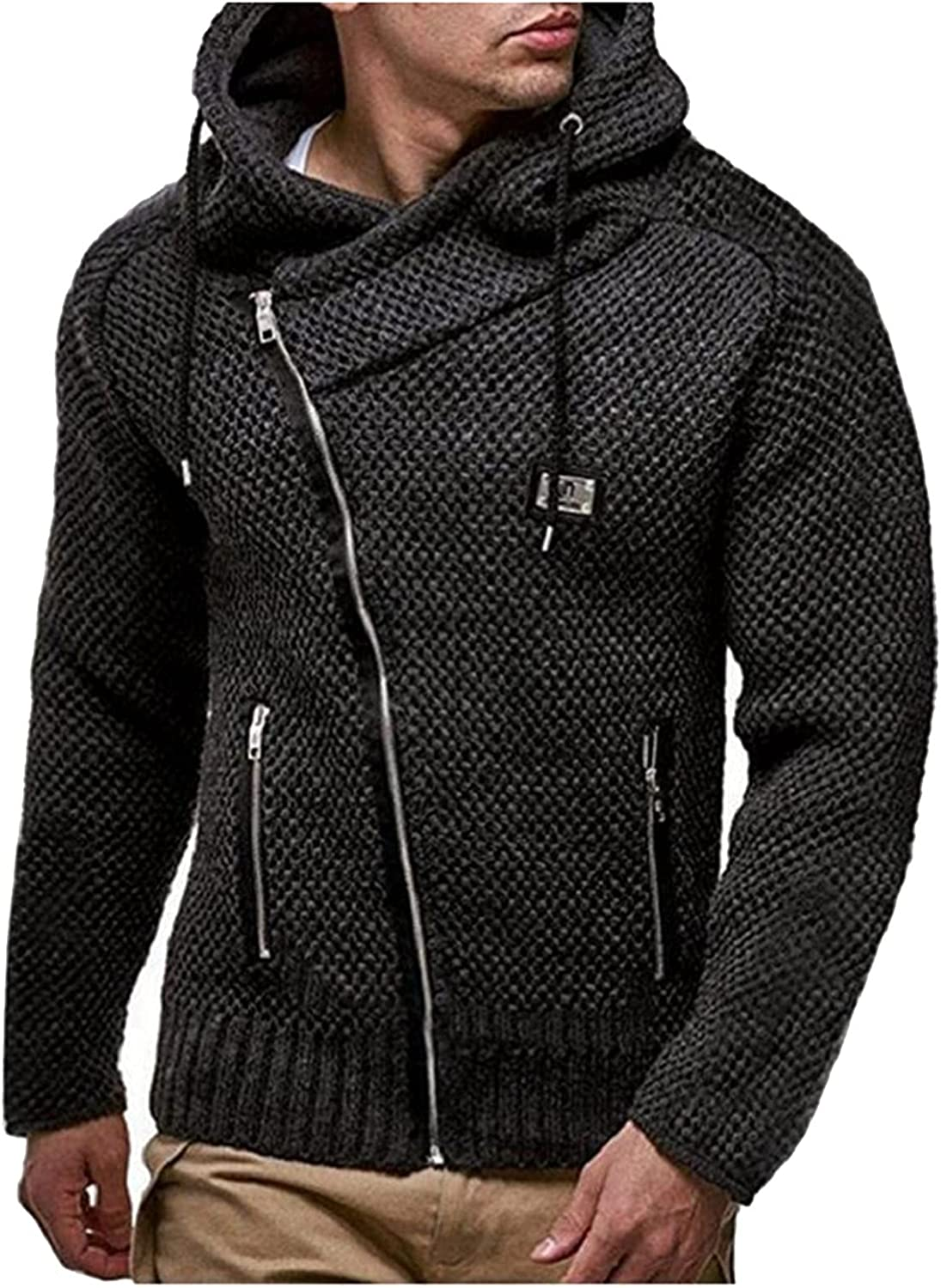 Huangse Men's Fashion Zipper Knitted Hoodie Slim Fit Open Front Sweaters Winter Thick Knit Cardigan Hoodies