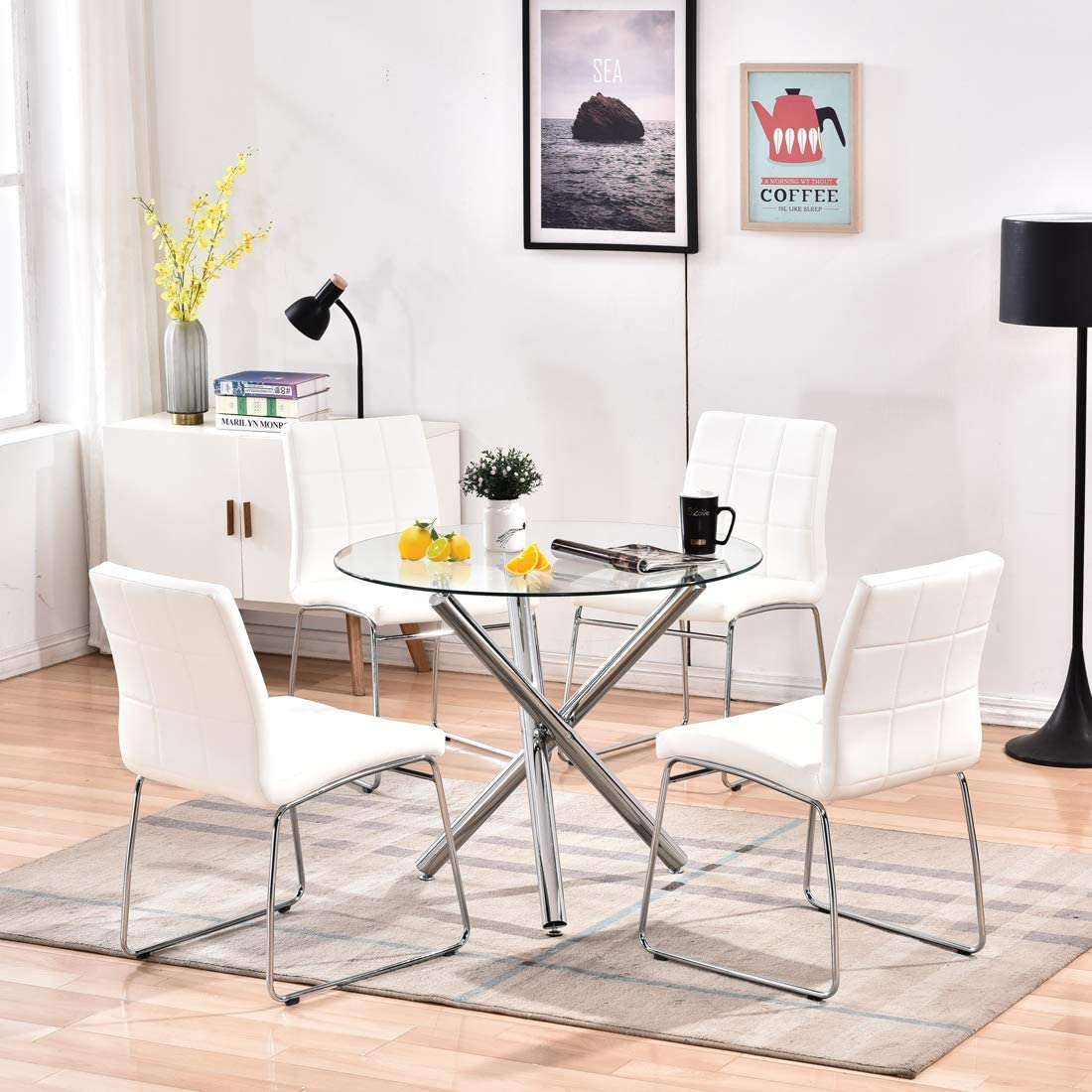 Buy Modern Dining Table Chairs Set,Round Table with Clear Tempered Glass Top+4 White Faux Leather Dining Chairs Set for 4 Person,Kitchen Dining Room Table and Chairs Set for Home(1 Table + 4