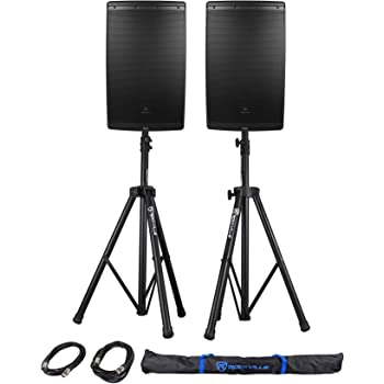 "2 JBL EON615 15"" 2000w Powered DJ PA Speakers w/Bluetooth App Ctrl+Stands+Cables"