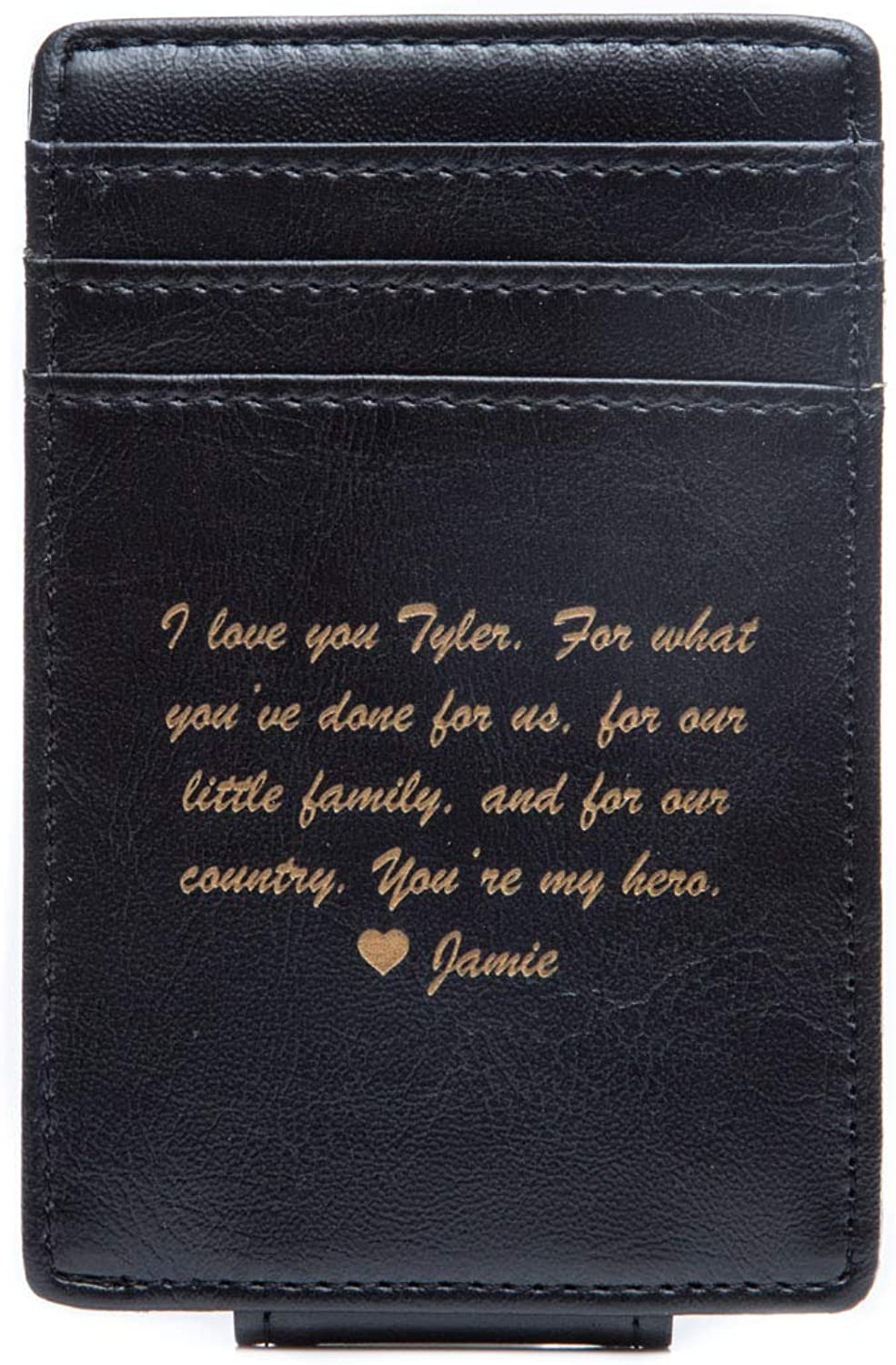 Swanky Badger Personalized Wallet – Money Clip Leather Wallet, Magnetic Clip, Card Slots
