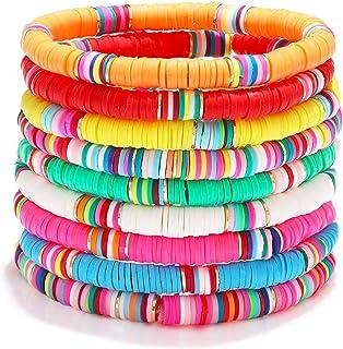دستبندهای Surfer Heishi برای زنان دستبندهای کشش دار وینیل دیسک رنگین کمان قابل انعطاف ، دستکش های دوستانه لایه های الاستیک Boho Summer Jewelry