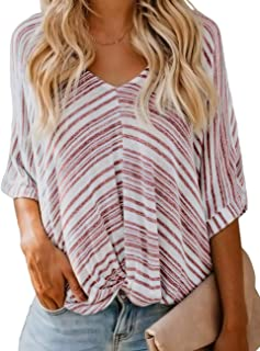 CILKOO Women's Summer V Neck Striped Short Sleeve Twist Knot Casual Loose Blouse Tops