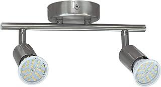 Lámpara de Techo con 2 focos LED GU10,5.5W No Regulable Bombillas LED GU10, 600LM, Luz Blanca Neutra 4000K,Focos Ajustables y Giratorios para Interiores.