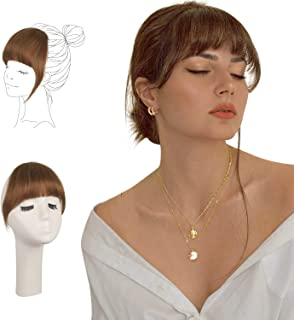 FESHFEN Clip in Bangs 100% Human Hair Extension Curved Bangs French Bangs Fringe Dark Auburn Hair Pieces Clip on Natural Flat Neat Bangs with Temples One Piece Hairpiece Extension for Women Girls