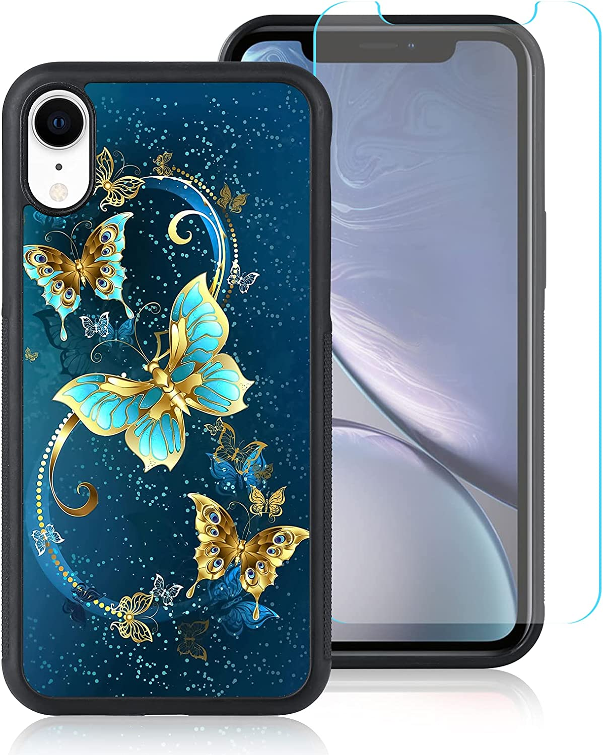 Compatible with iPhone XR 6.1 inch Case, [Built in Screen Protector],Cute Blue Butterfly Design Hard PC Back Anti Slip Shockproof Protective Case for iPhone XR