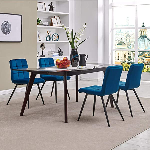 Modern Velvet Dining Chairs Tufted Accent Upholstered Chairs For Living Room Kitchen Vanity Patio Set Of 4 Blue