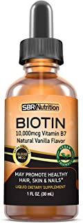 MAX Absorption Biotin Liquid Drops, 10000mcg of Biotin Per Serving, 60 Serving, No Artificial Preservatives, Vegan Friendl...