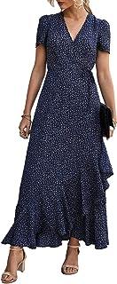 Women's Summer Wrap Maxi Dress Casual Boho Floral V Neck...