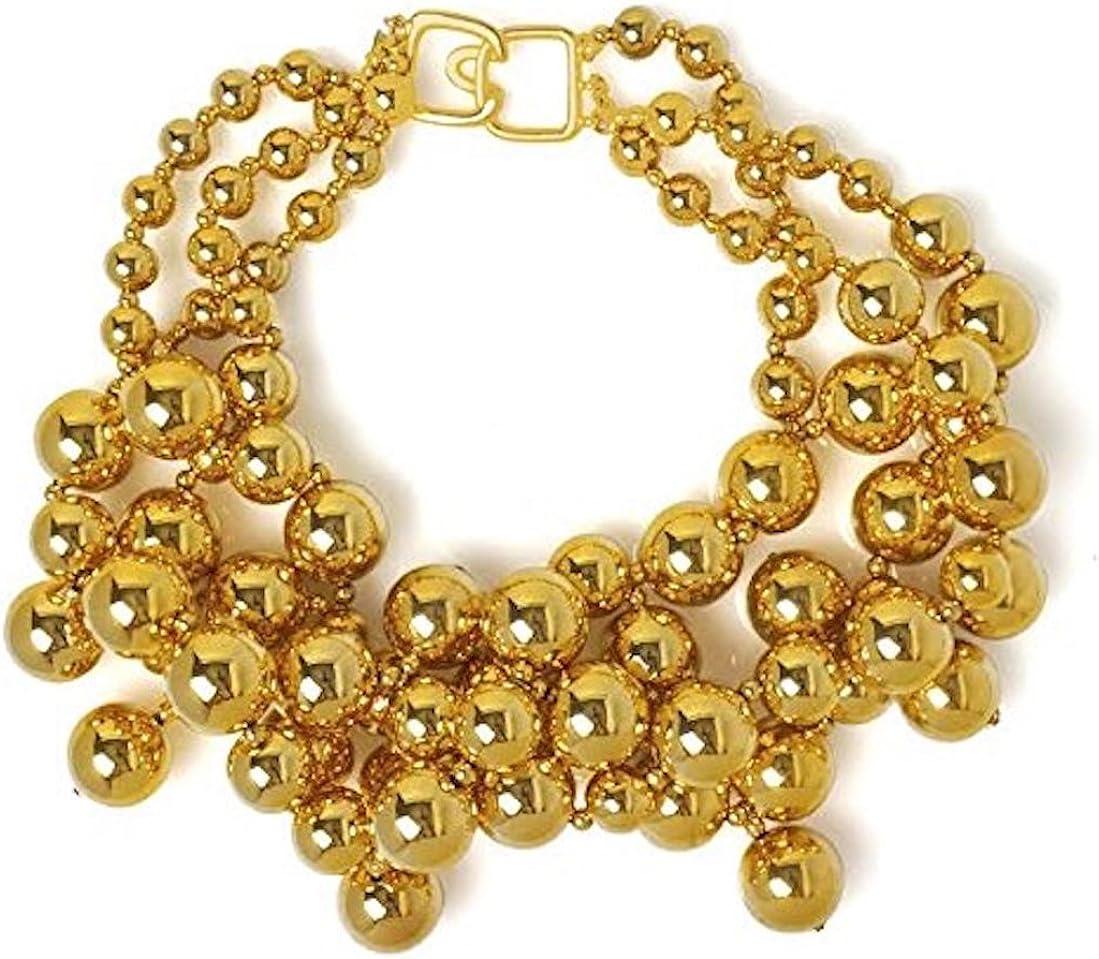 Choker Necklace Bib Metallic Beads with Drops Chunky Costume Fashion Jewelry by Kenneth Jay Lane